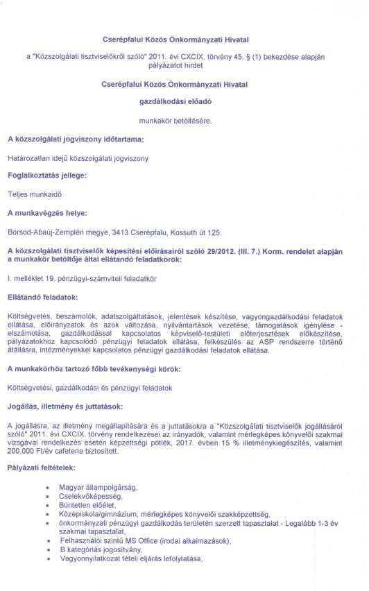 Gazdálkodási előadó pályázati felhívás