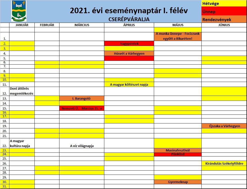 2021. évi eseménynaptár I. félév